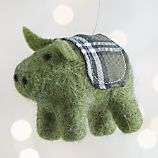 Green Felt Pig Ornament