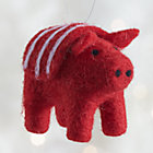 Red Felt Pig Ornament.