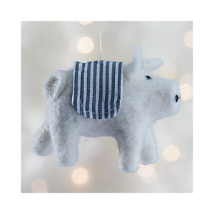 White Felt Pig Ornament