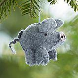 Felt Stitched Grey Pig Ornament
