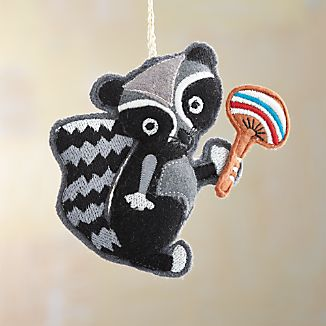 Felt Raccoon with Mushroom Ornament