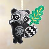 Felt Raccoon with Leaf Ornament