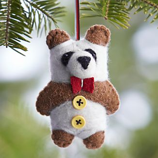 Felt Wool Panda Bear with Bow Tie Ornament