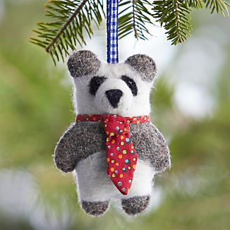 Felt Wool Panda Bear with Necktie Ornament