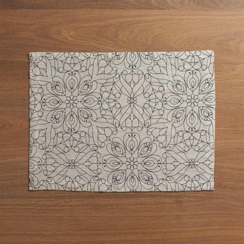 Easy elegance in pure linen. Hemmed placemat in natural linen is inscribed with a bold yet delicate filigree pattern in deep charcoal.<br /><br /><NEWTAG/><ul><li>100% linen</li><li>Do not bleach or dry clean</li><li>Machine wash cold, dry flat; warm iron as needed</li><li>Made in India</li></ul>