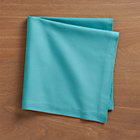 Set of eight Fete Aqua Cotton Napkins.