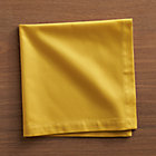 Set of eight Fete Mustard Cotton Napkins.