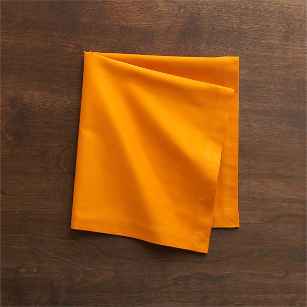 Set of 8 Fete Tangerine Cotton Napkins