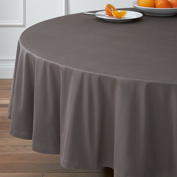 "Fete Pewter 90"" Round Tablecloth"