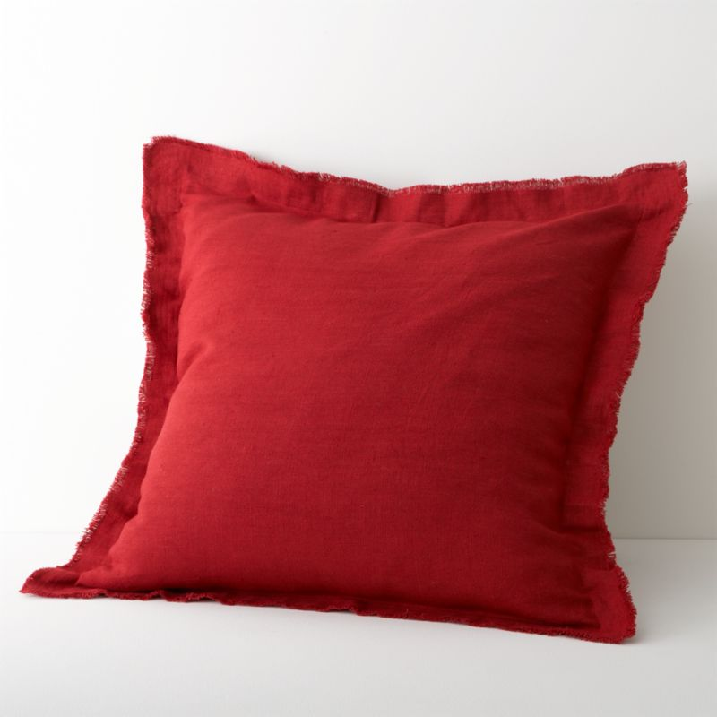 Fiery red lights up natural linen bedding with embroidered tonal bands and deep solid accents. Euro sham goes for drama in solid red with wide flange seams and raw-edge fringe. Inside flap closure. Bed pillows also available.<br /><br /><NEWTAG/><ul><li>100% linen</li><li>100% polyester embroidery</li><li>Machine wash, tumble dry low; iron damp</li><li>Made in India</li></ul>