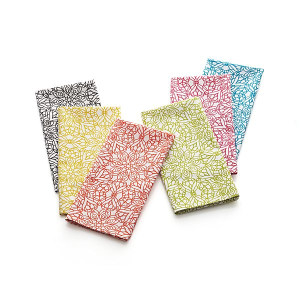 Set of 6 Filigree Multicolor Napkins
