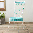 Fish High Back Harlequin Chair Turquoise Seat White Back.
