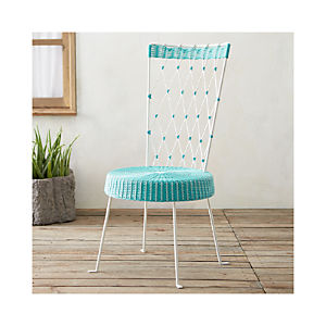 Fish High Back Harlequin Chair Turquoise Seat White Back