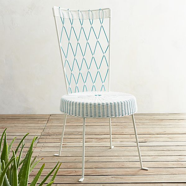 Fish High Back Harlequin Chair White Seat Turquoise Back