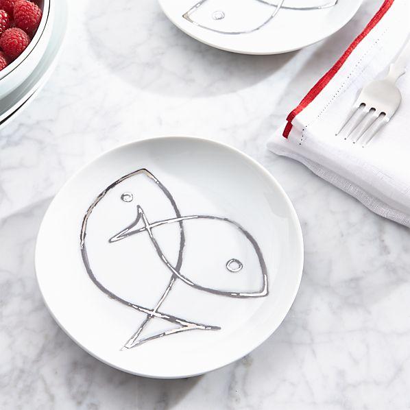 Fish Sketch Dessert Plate