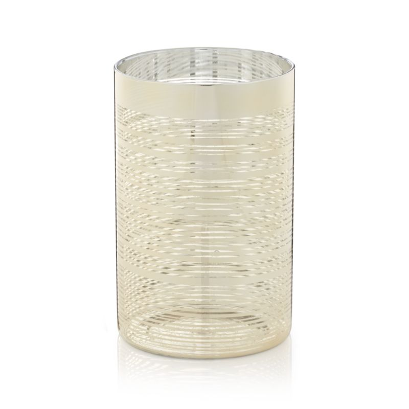 "Luxe lighting at a great price. Clean-lined cylinders shine flickering candlelight through finely brushed rings of gold. A modern and elegant design with just the right amount of glitz.<br /><br /><NEWTAG/><ul><li>Glass with gold finish</li><li>Hurricane accommodates up to 3""-dia. pillar candle, sold separately</li><li>Made in China</li></ul><br />"