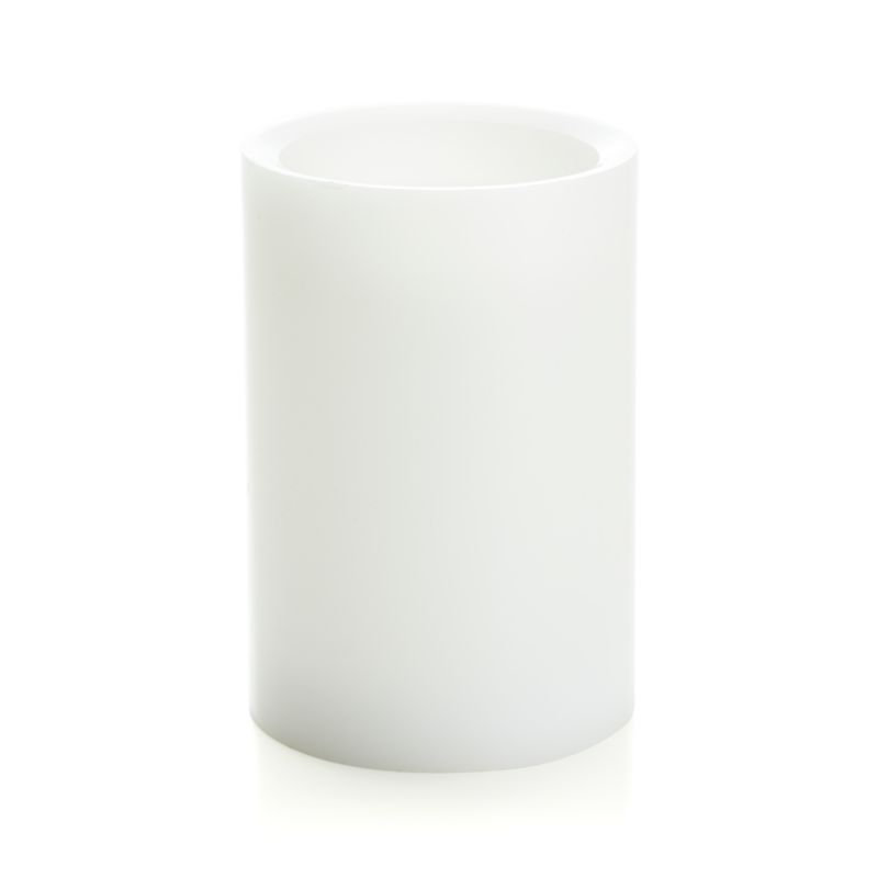 "Flameless White 4""x6"" Pillar Candle with Timer"