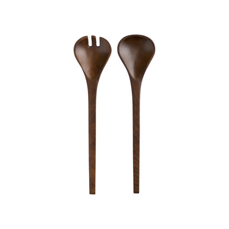 Modern, handcarved servers have a smooth walnut finish that shows off the beautiful, natural grain of sustainable mango wood. Extra-long handles for easy serving.<br /><br /><NEWTAG/><ul><li>Sustainable mango wood</li><li>Walnut finish</li><li>Clean with a soft cloth</li><li>Made in India</li></ul>