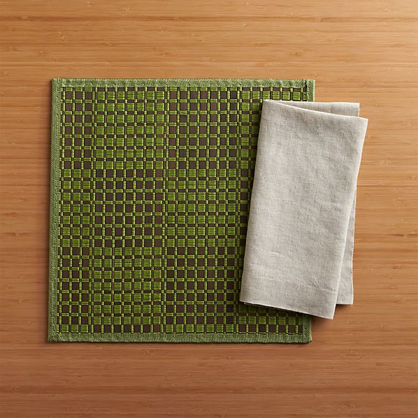 Flatts Green Placemat and Helena Dark Natural Linen Napkin