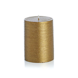 "Flicker Gold 3""x4"" Pillar Candle"