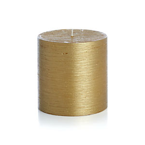 "Flicker Gold 4""x4"" Pillar Candle"