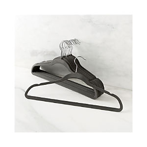 Set of 12 Flocked Grey Hangers
