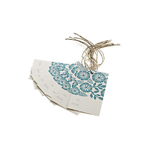 Block-Printed Flower Gift Tags Set of Eight