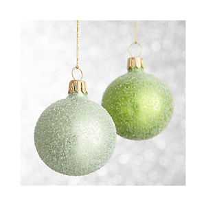 Green Flurry Ball Ornaments