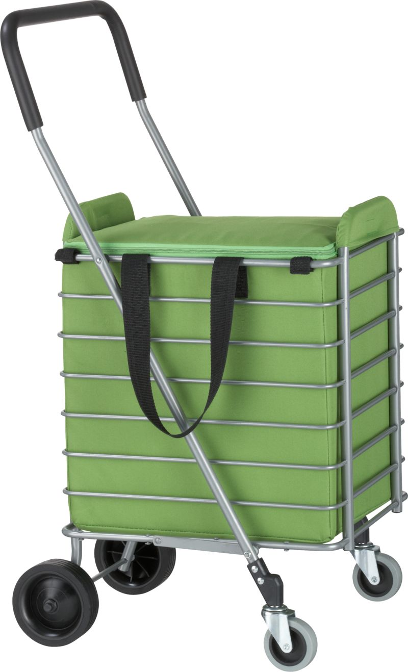 Sturdy yet lightweight shopping cart rolls easy with front wheels that rotate a full 360 degrees. Cart folds flat with a simple lift motion for easy portability and storage. Green zippered liner attaches with fabric tabs.<br /><br /><NEWTAG/><ul><li>Aluminum cart with PVC plastic wheels</li><li>Holds up to 30 pounds</li><li>Polyester/plastic cart liner with foam insulation</li><li>Clean liner with a damp cloth</li></ul>