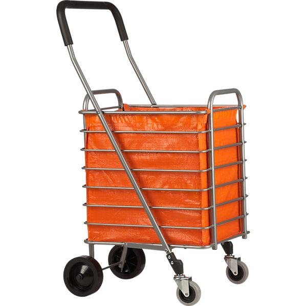 Folding Shopping Cart with Orange Cart Liner