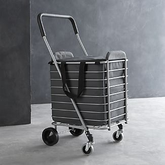 Polder® Folding Shopping Cart with Insulated Grey Liner