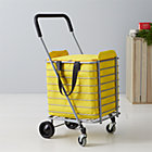 Polder® Folding Shopping Cart with Insulated Yellow Liner.