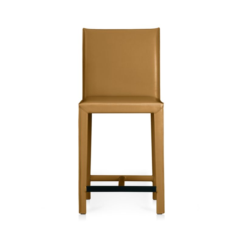 Classic Italian design, reinterpreted with clean, Parsons-style lines and comfort top-of-mind. Fully wrapped in top-grain, semi-aniline vegetable-tanned leather, the Folio counter stool features substantial legs and a solid steel welded base supporting the inviting foam-cushioned seat and back. <NEWTAG/><ul><li>Welded steel frame</li><li>Polyfoam seat and back cushion with fiber wrap</li><li>Mitered cut and stitched leather</li><li>Flange seaming</li><li>Grooved footrest with protective cover</li><li>Material origin: see swatch</li><li>Made in China</li></ul>