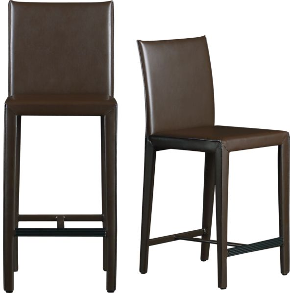 Folio Chocolate Bonded Leather Bar Stools Crate And Barrel