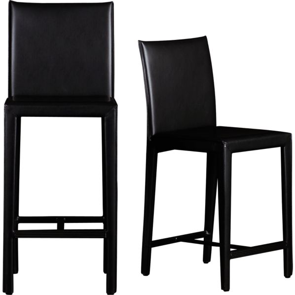 Folio Ebony Bonded Leather Bar Stools