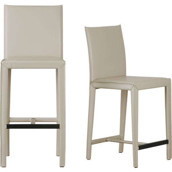 Folio Oyster Bonded Leather Bar Stools Crate And Barrel