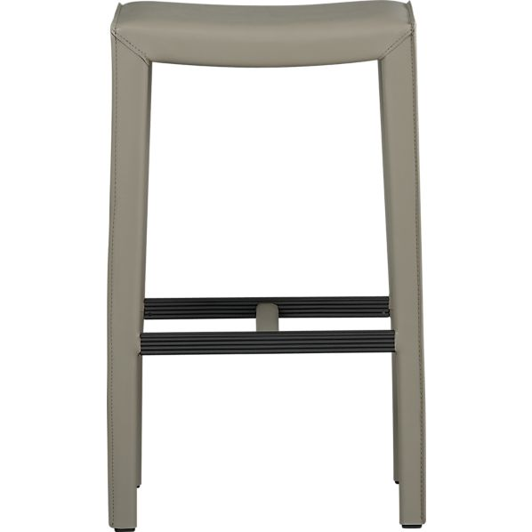 "Folio Ash Leather 30"" Backless Barstool"