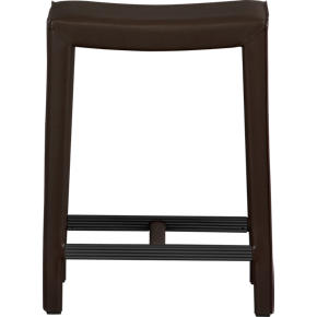 Folio 24 Chocolate Leather Backless Counter Stool