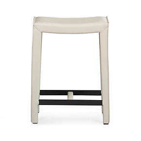 Folio Oyster Leather 24 Backless Counter Stool