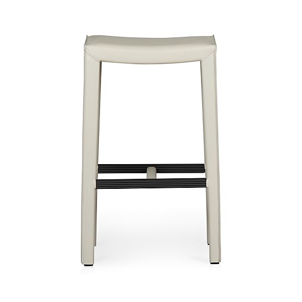 "Folio Oyster Leather 30"" Backless Barstool"