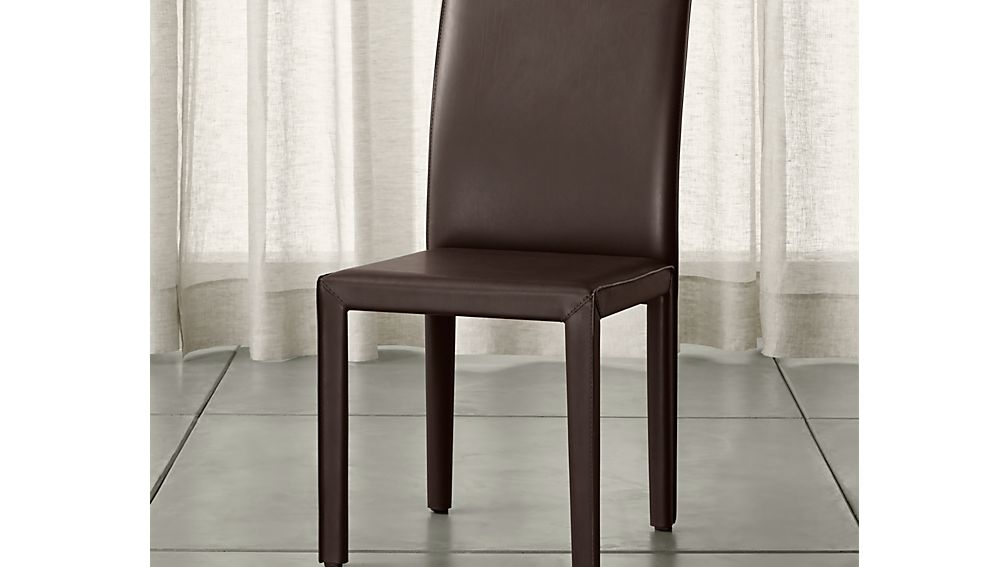 Folio Chocolate Bonded Leather Dining Chair Crate And Barrel