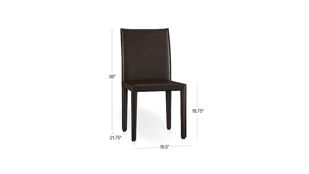 Folio Chocolate Bonded Leather Side Chair Dimensions