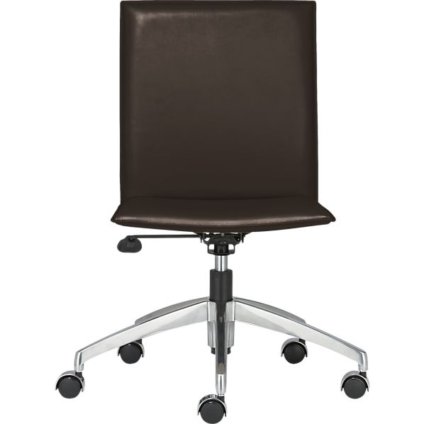 Folio Chocolate Leather Office Chair with Hooded Casters