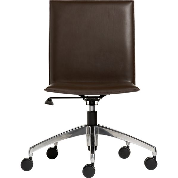 crate and barrel exclusive folio chocolate leather office chair in office chairs crate and
