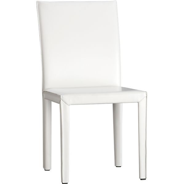 Folio White Bonded Leather Leather Side Chair