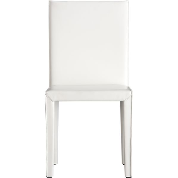 Folio White Leather Side Chair