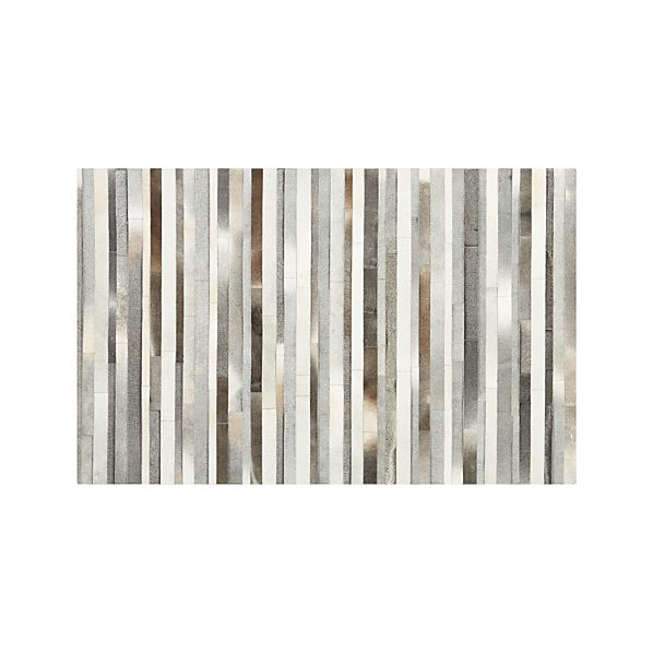 Fonda Grey Striped Cowhide 5'x8' Rug