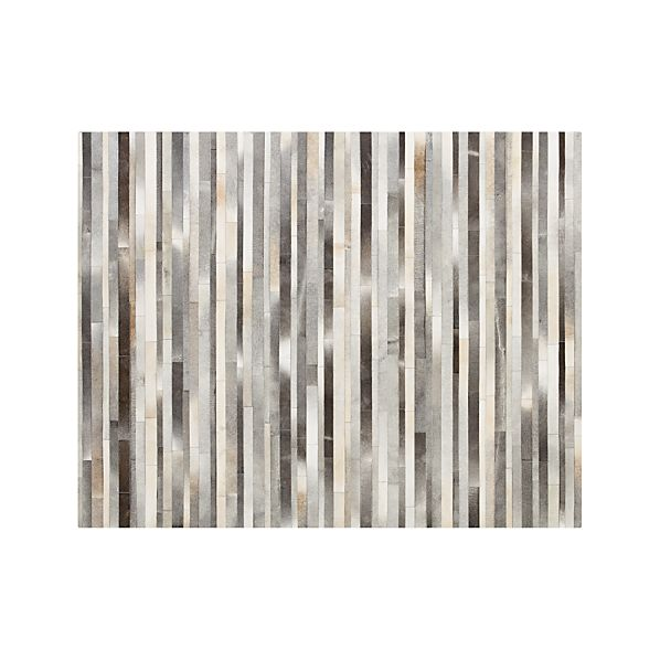 Fonda Grey Striped Cowhide 8'x10' Rug