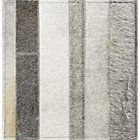 Fonda Grey Striped Cowhide Rug Swatch.