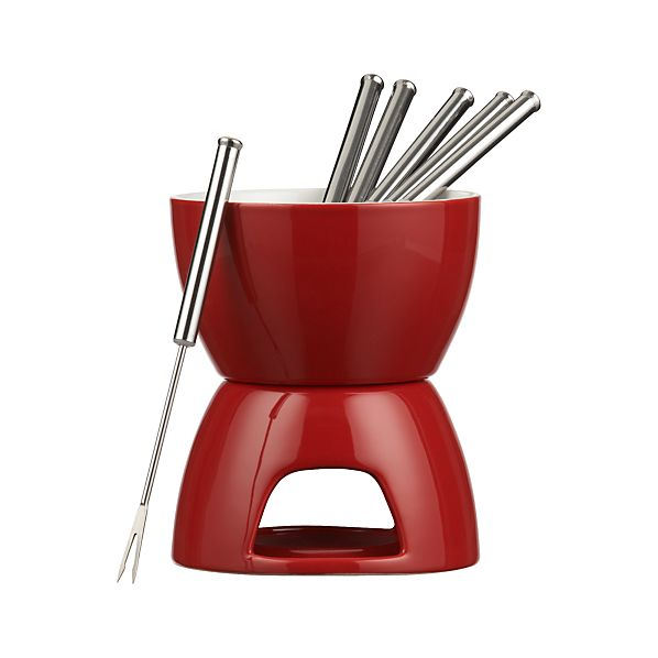 7-Piece Red and White Fondue Set